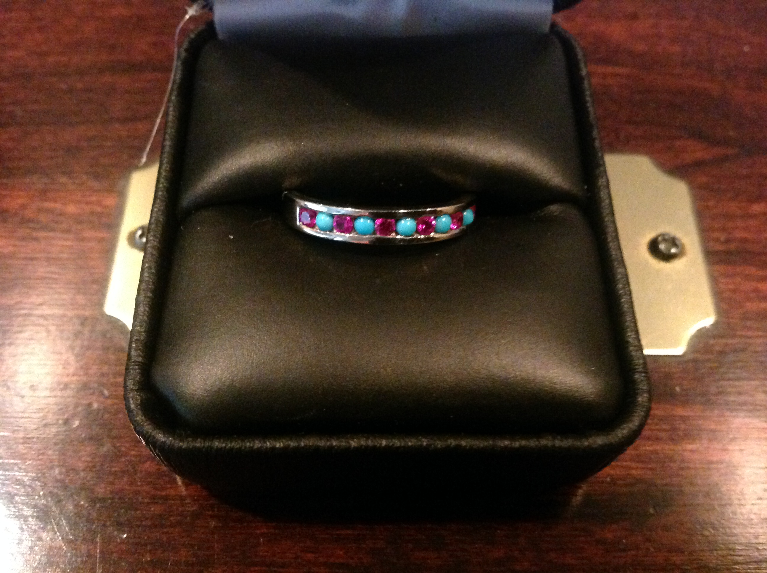 unusual ruby and turquoise wedding band or eternity ring turquoise wedding bands A combination of ruby my birthstone and sleeping beauty turquoise set in 14k white gold I love it and wanted to share with you