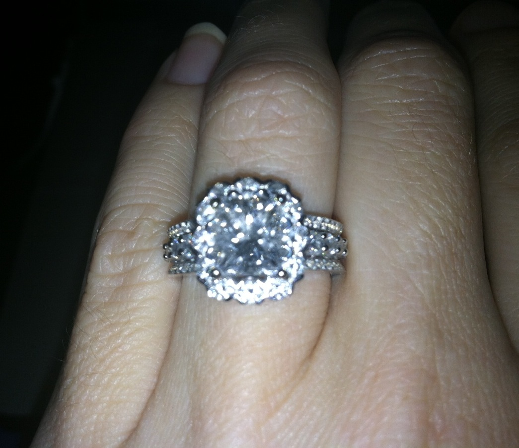 show me your halo rings triple band wedding ring halo and all over the triple band shank in 18kt white gold Total 3 50 and I think it s a nice look on the hand not too bulky I d love to see yours