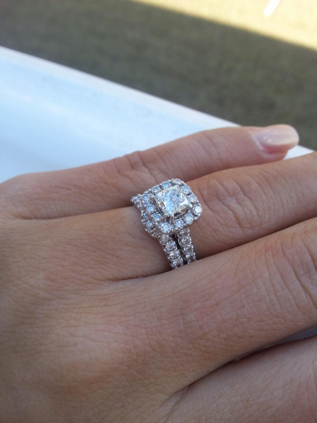 changing original ring set neil lane wedding bands I lost my first ring then hubby picked out a Neil Lane princess cut halo wedding set that really wasn t my style although I do still have it