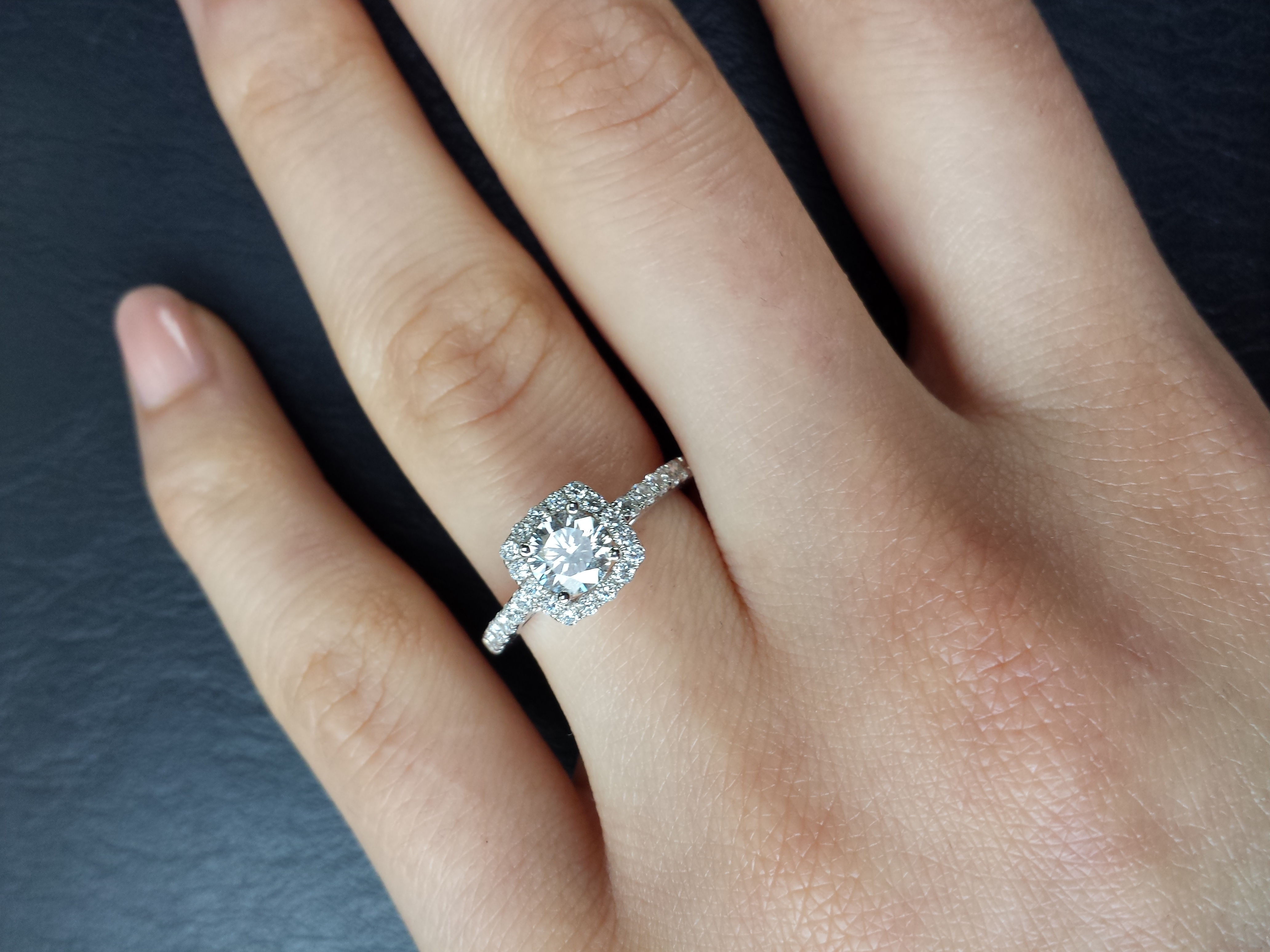 princess cut halo engagement ring zales diamond wedding rings It s a Zales Celebration Fire diamond round with a cushion halo I didn t like it because I had always wanted princess cut and felt stupid for picking it