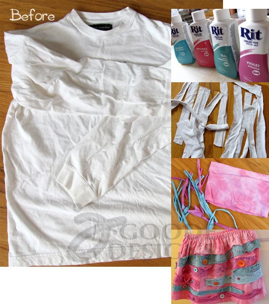 Steps for making a recycled t-shirt skirt