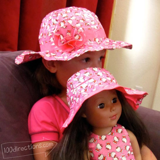 Matching child/doll Duct Tape sun hats