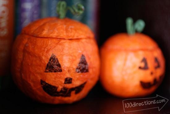 Hand made Strofoam Jack-o-Lanterns