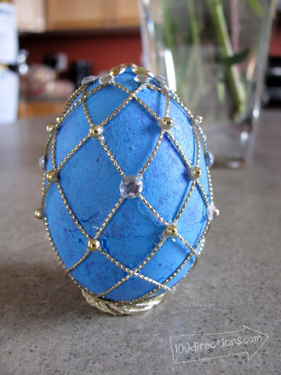 Twine and gems in place on my Faberge egg