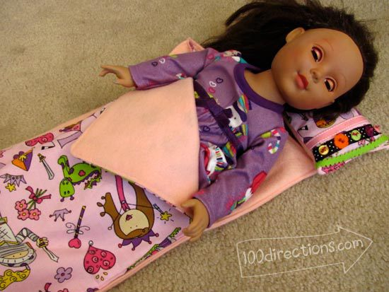 "Sleeping bag and pillow for 18"" doll with Laura Kelly fabric and buttons"