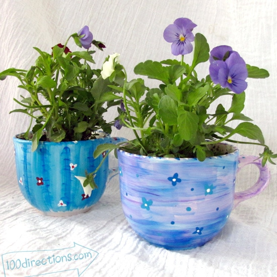 use layers of paint to add texture when painting your tea cups
