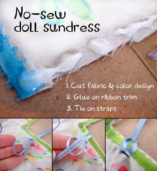 Make a sundress for your doll - add the straps