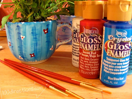 use Decoart Gloss Enamel to paint your tea cups