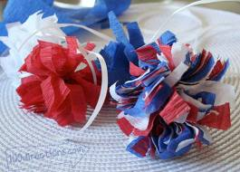 Easy patriotic pom pom decor with crepe paper streamers