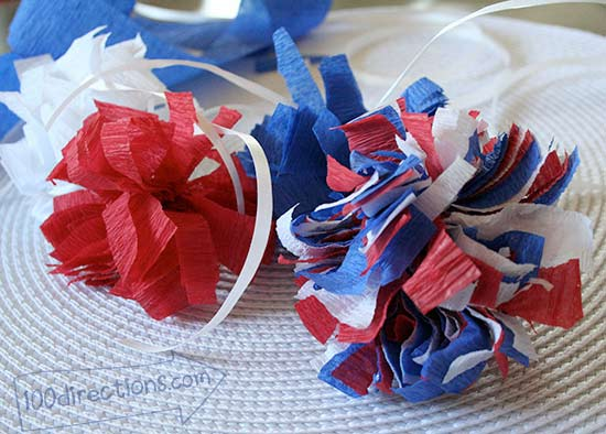 Easy patriotic pom pom decor with crepe paper streamers for Decor using crepe paper