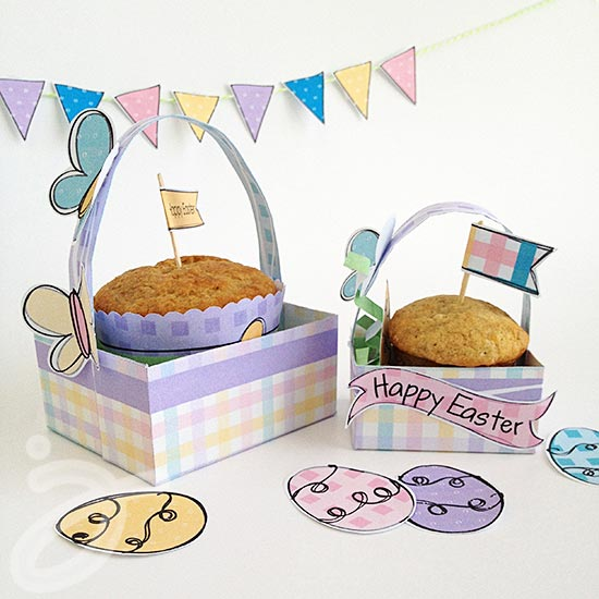 Happy Easter Printables and Cupcake holders by Jen Goode