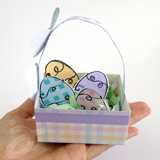 Mini Easter Basket with Decorated eggs printable by Jen Goode