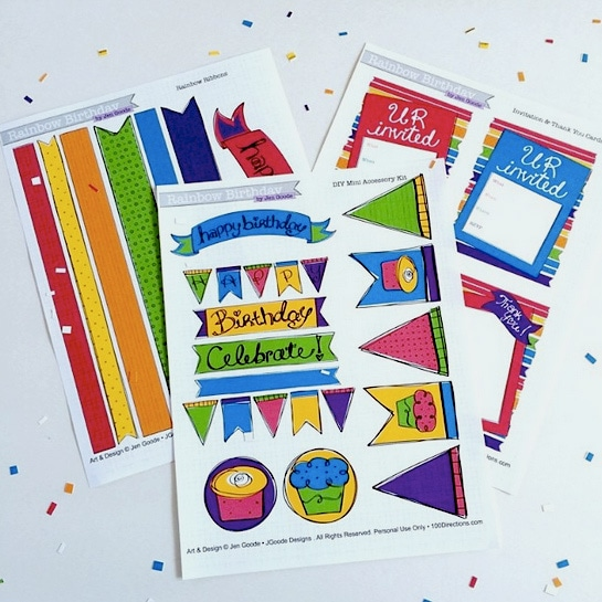 Rainbow birthday printables by jen Goode