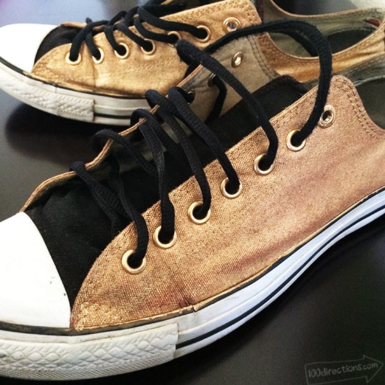 Upcycled old Converse with Gold Spray Paint