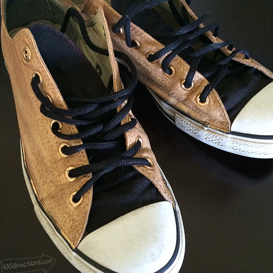 DIY Gold Painted Converse Shoes