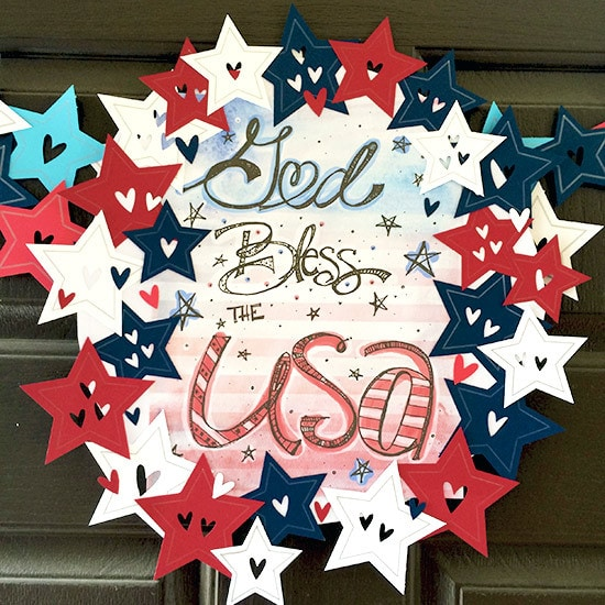 God Bless the USA Patriotic art design by Jen Goode
