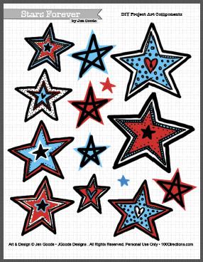 Stars Forever Patriotic art by Jen Goode - Printable art