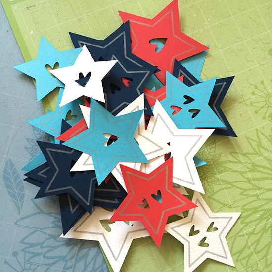 Cut out stars in patriotic paper colors