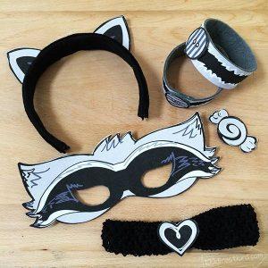 Raccoon mask and costume printable kit
