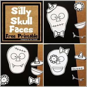 Silly Skulls Activity and Coloring Page by Jen Goode