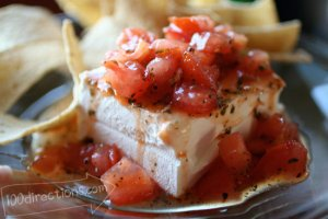 Salsa and Cream Cheese - party plate