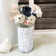 Chalky Finish Watercolor Painted Flower Vase