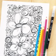 Flower Sketch Coloring Page
