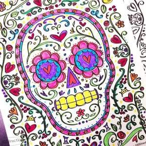 Sugar Skull Coloring Page for Dia De Los Muertos