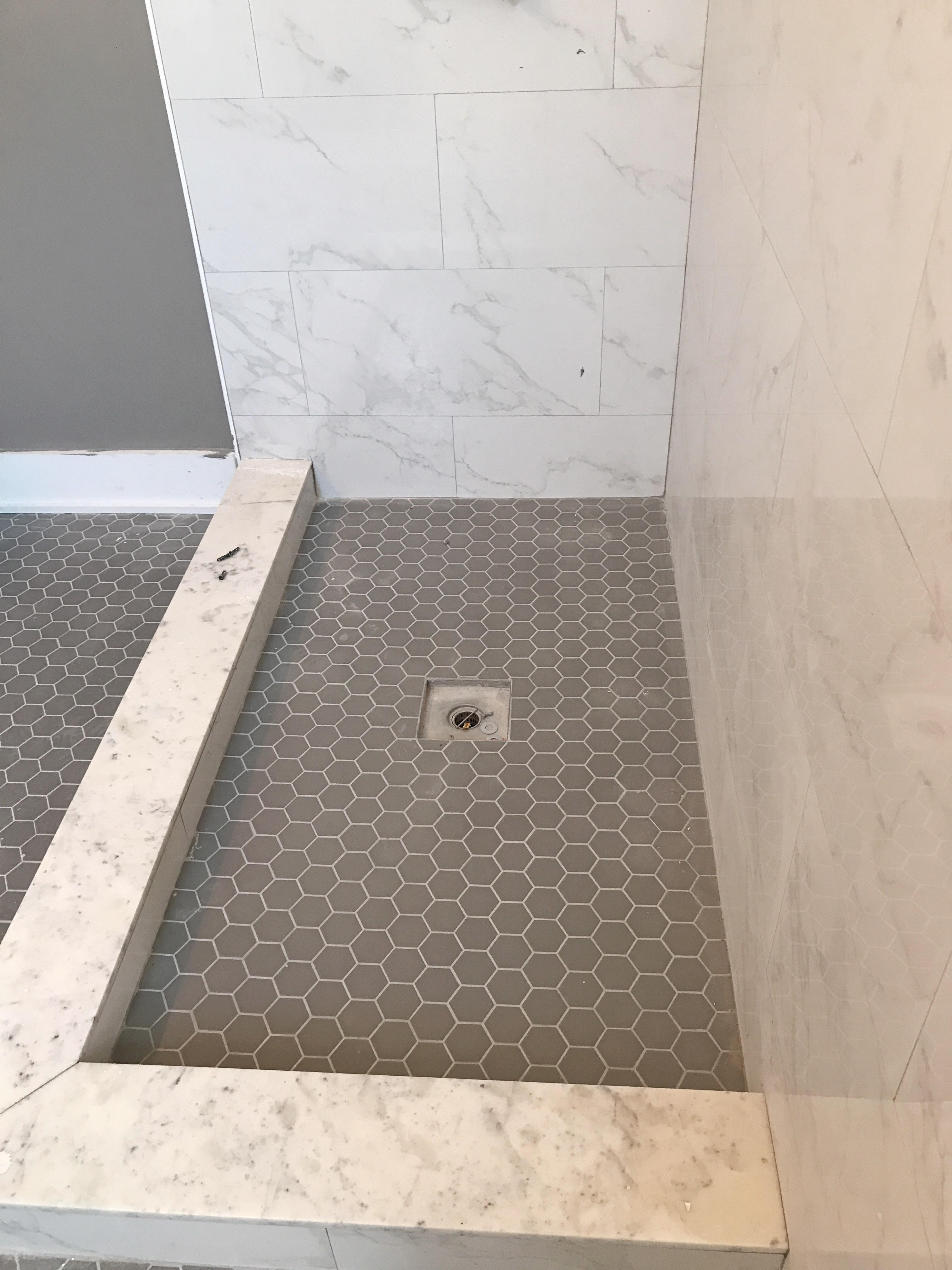 installed photo hexagon our of hex half main tiles ceramic in bathroom tile mosaic bath we floor pin