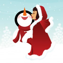 girl-illustration-kissing-a-snowman-free-vector