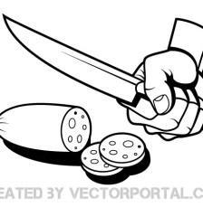 067-hand-slicing-fruit-clip-art