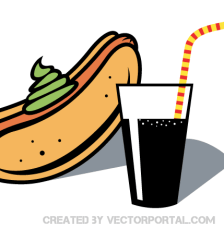 074-hot-dog-and-drink-with-straw-vector-clip-art