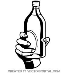 516-hand-holding-bottle-vector-image