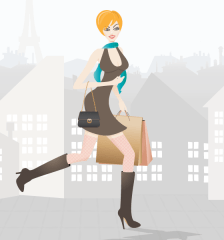 269-shopping-girl-in-paris---free-vector