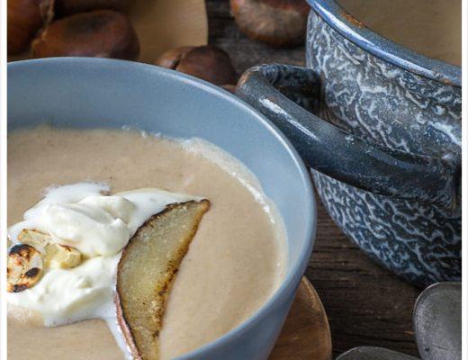 Rezept für Maronencremesuppe mit gebratener Birne Vorspeise Gäste Weihnachten180 grad salon