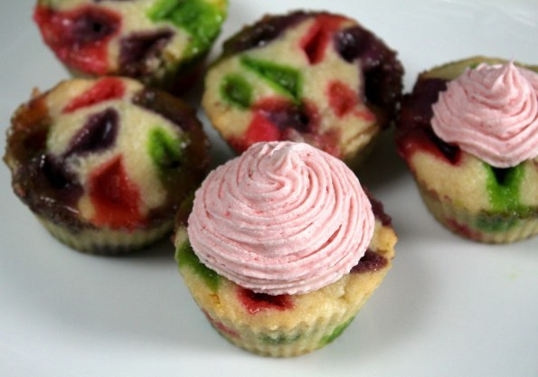 Add a swirl of strawberry frosting to your cupcake