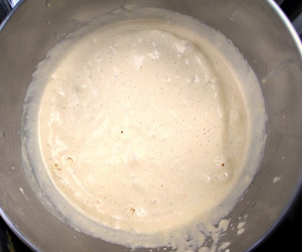 The ice cream begins to thicken as it freezes