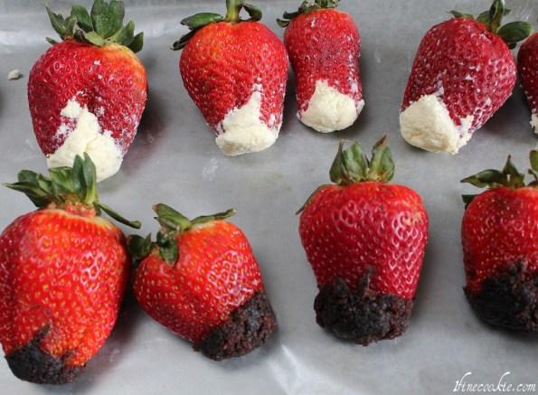 use finger to stuff inside of strawberry