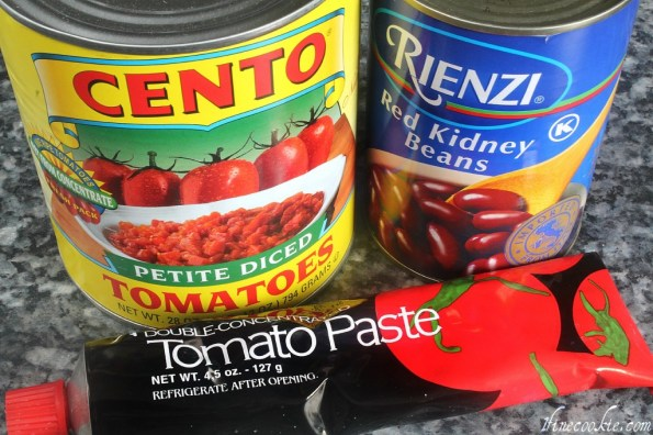 Canned tomatoes, beans, tomato paste chili cupcake french fry savory