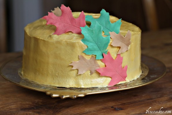 place leaves on frosting
