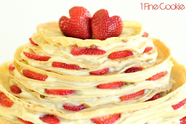 Crepe Cake with Sliced Strawberries by 1 Fine Cookie, crepes, crepe, cake, recipe, tiered, three, three-tiered, strawberry hearts, strawberries, sliced, wedding, red, white, french, pastry, creme, cream, whipped, vanilla, how to, diy, alternative, tutorial, video, kitchenaid, strawberry heart, heart, cut a strawberry, instructions, thin, filling, what pan to use, skillet, to use, batter, cook, non-cake, cake alternatives, Gâteau Mille, Crêpe,