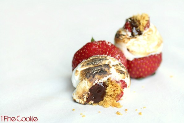 S'more filled strawberries recipe by 1 Fine Cookie, smore, food, how to make, stuffed, strawberry, strawberries, chocolate, ganache, summer, marshmallow, cream, fluff, diy, homemade, july, 4th, fourth, of, dishes, dessert, cookout, barbeque,