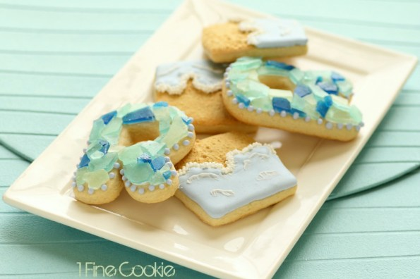Beach and Sea Glass Cookies by 1 Fine Cookie, beach, ocean, themed, theme, party, ideas, cut out, cookies, royal, icing, blue, green, teal, recipe, monogram, letter, inspiration, party, table, tropical, pina, colada, pineapple,  wedding, summer, ocean, kids, children, favors, birthday, jimmy buffet, sand, dessert, sweets, sugar,