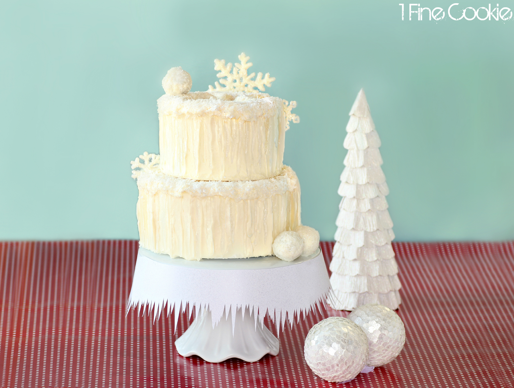 Winter Wonderland Snow Cake Complete With Snowflakes Snowballs