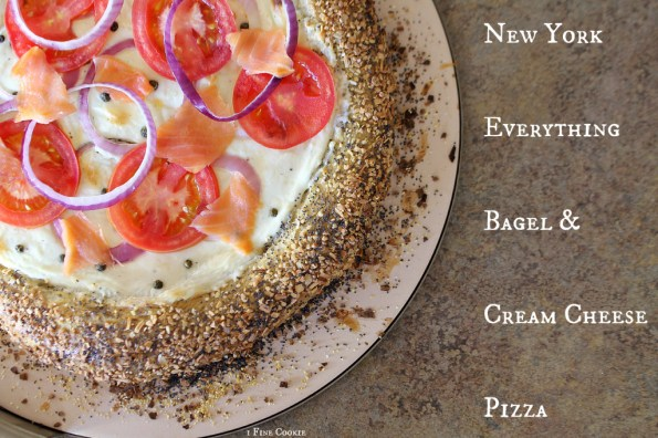 New York Everything Bagel and Cream Cheese Pizza by 1 Fine Cookie, crust, salmon, salty, cured, smoked, bagel, recipe, dough, pizza, new york, ny, how, to, diy, everything, cream, cream cheese, sauce, homemade, lox, onions, tomatoes, tomato, fresh, fluffy, garlic, rise, yeast, easy, capers, onion, with, cheese, white, tomato free, gooey, recipe, soft, poppy seed, i love new york,
