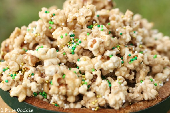 saint patrick's day beer popcorn recipe by 1 Fine Cookie, guinness, popcorn, beer, caramel, recipe, saint, patrick's, patty's, day, green, sprinkles, snack, idea, food, dessert, candy, dark, beer, infused, sugar, homemade, flavored, father's, day, sports, irish, green, gift, mason, jar, barrel, man, men, manly,