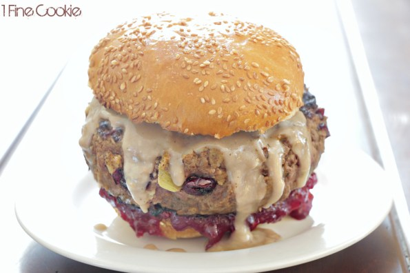 Thanksgiving Burger with mashed potato, stuffing, gravy, cranberry sauce, and turkey. By 1 Fine Cookie, leftover, thanksgiving, holiday, stuffed, filled, burger, hamburger, what to do with, recipes, for, stuffing, gravy, mashed potatoes, food porn, turkey, dried cranberries, cranberry, sauce, ground, beef, liquid, smoke, ideas, how to grind beef, grind beef, diy, homemade, meat, dinner, lunch, single serving,
