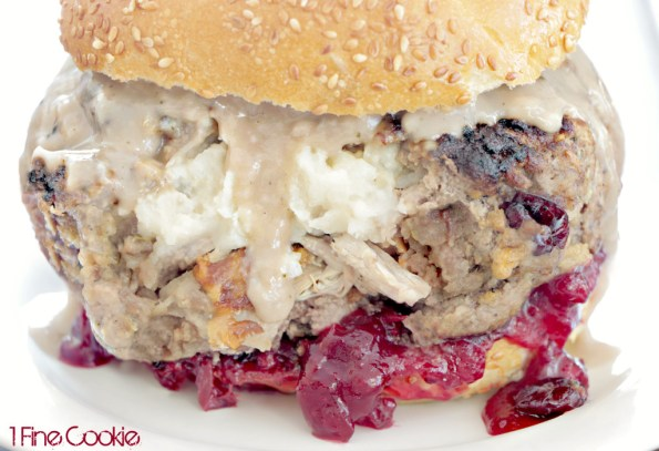Thanksgiving Stuffed Burger by 1 Fine Cookie, leftover, thanksgiving, holiday, stuffed, filled, burger, hamburger, what to do with, recipes, for, stuffing, gravy, mashed potatoes, food porn, turkey, dried cranberries, cranberry, sauce, ground, beef, liquid, smoke, ideas, how to grind beef, grind beef, diy, homemade, meat, dinner, lunch, single serving,