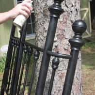 repurpose an old headboard into a garden fencek. Black Bedroom Furniture Sets. Home Design Ideas