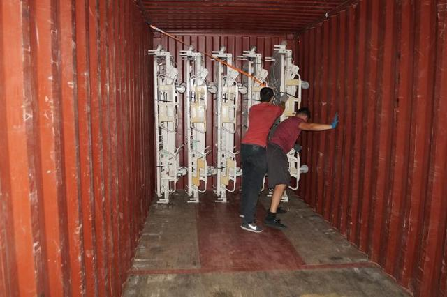 Hill Rom beds being loaded into container 40 foot